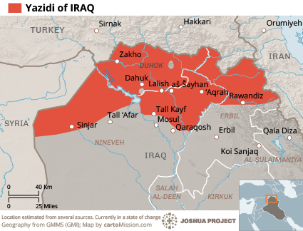 Map of Yazidi in Iraq