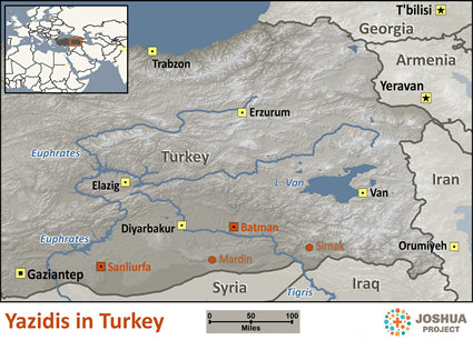 Map of Yazidi in Turkey
