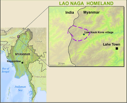 Map of Naga Lao in Myanmar (Burma)