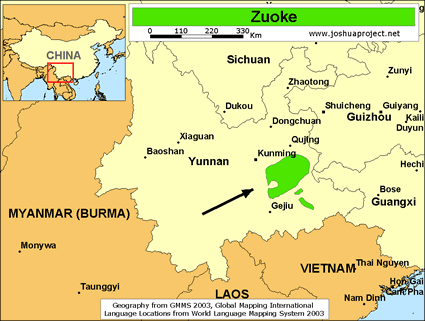 Map of Zokhuo in China