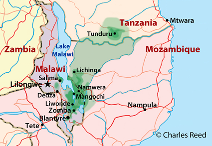 Map of Yao, Christian in Tanzania