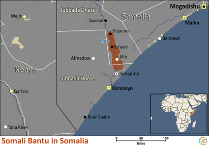 Map of Somali Bantu in Somalia