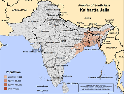 Map of Kaibartta Jalia in India