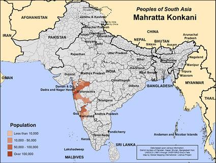 Map of Mahratta Konkani in India