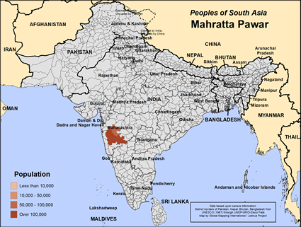Map of Mahratta Pawar in India