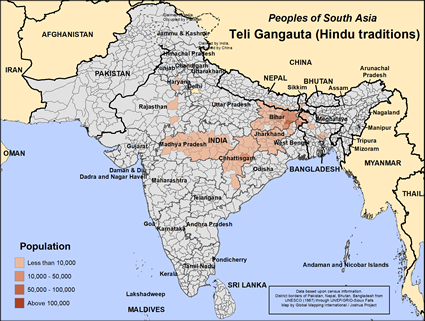 Map of Teli Gangauta (Hindu traditions) in India