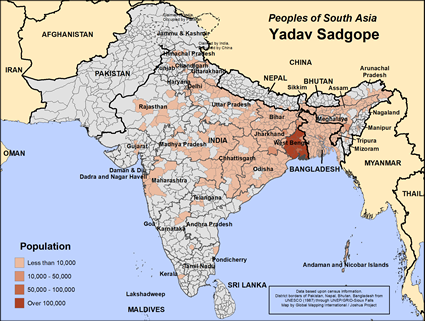 Map of Yadav Sadgope in India