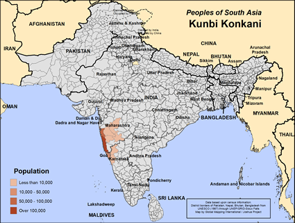 Map of Kunbi Konkani in India