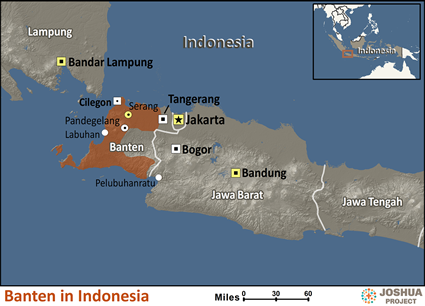 Map of Banten in Indonesia