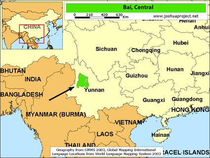 Map of Bai, Central in China