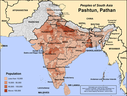 Map of Pashtun, Pathan in Nepal