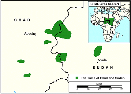 Sinyar, Shamya of Chad map