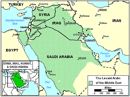 Arab, Syrian of Israel map