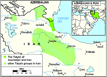 Talysh, Talish of Iran map