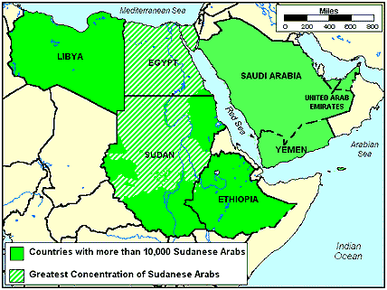 Arab, Sudanese of Sudan map