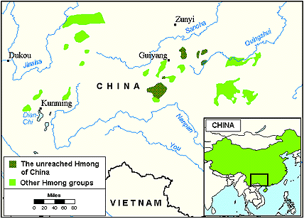 Miao, Luobohe of China map