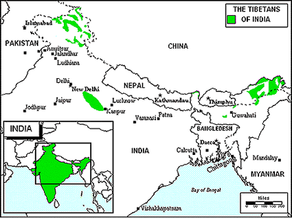 Ladakhi, Christian of India map