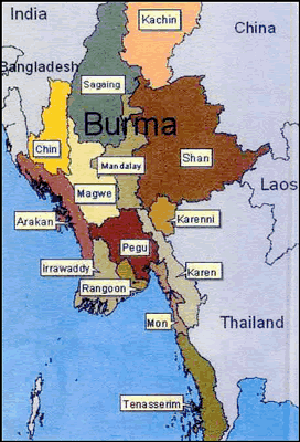 Karen, Lahta of Myanmar (Burma) map