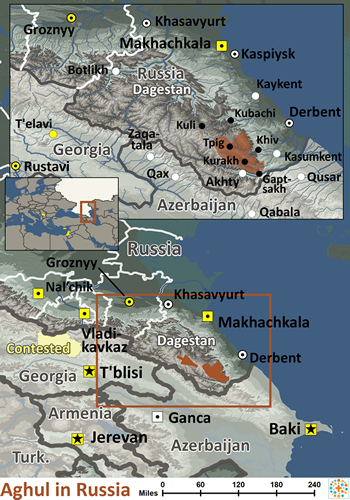 Aghul of Russia map