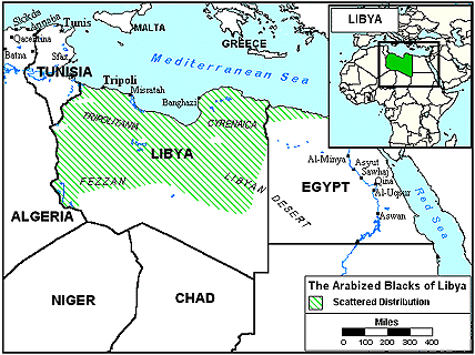 Achdam, Arabized Blacks of Libya map