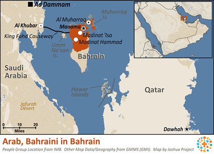Arab, Bahraini of Bahrain map