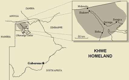 Kxoe, Khwe, Xun of Namibia map