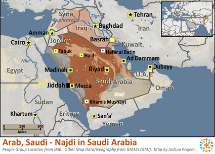 Arab, Saudi - Najdi of Saudi Arabia map