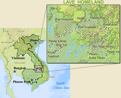 Brao of Laos map