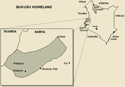 Luhya, Bukusu of Kenya map