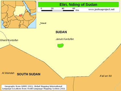 Eliri, Nding of Sudan map
