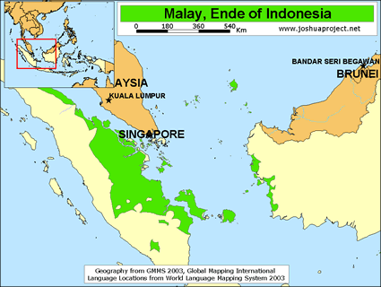 Malay, Larantuka, Ende of Indonesia map