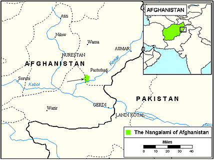 Nuristani, Grangali of Afghanistan map