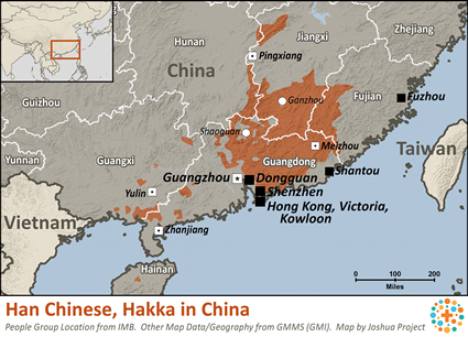 Hakka of China map