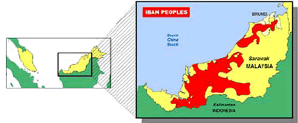 Sea Dayak, Iban of Brunei map