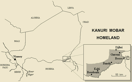Kanuri, Yerwa, Beriberi of Chad map