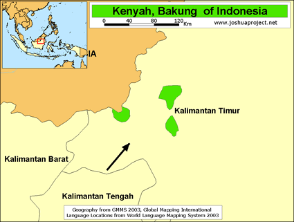 Kenyah, Kelinyau of Indonesia map