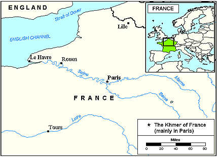 Khmer, Central of France map