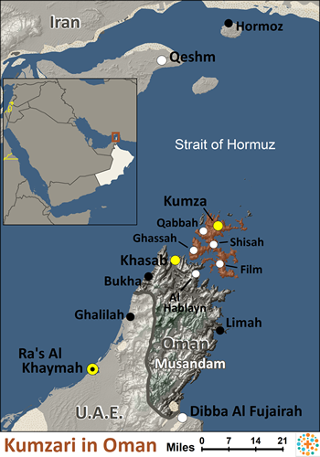 Kumzari of Oman map