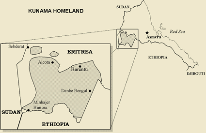 Kunama of Eritrea map