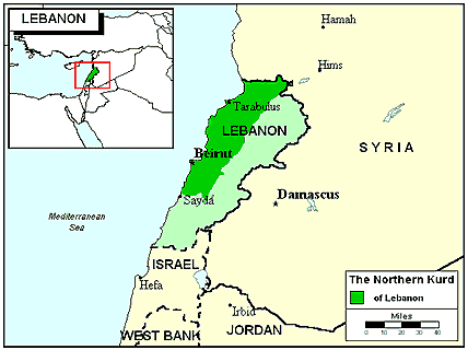 Kurd, Kurmanji of Lebanon map