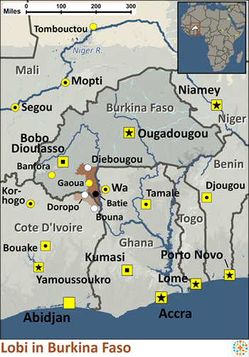 Lobi, Lobiri of Burkina Faso map