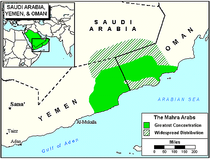 Mahra of Yemen map