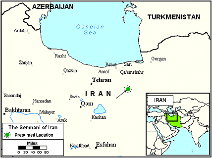 Semnani of Iran map