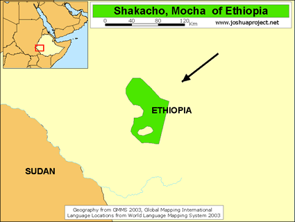 Shekkacho, Mocha of Ethiopia map