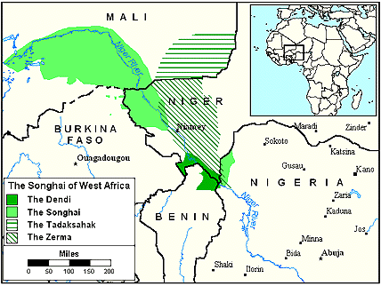 Songhai-Koyraboro of Nigeria map