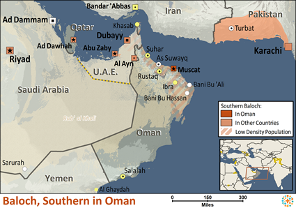 Baloch, Southern of Oman map