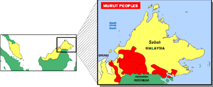 Murut, Tagal, North Borneo Murut of Indonesia map