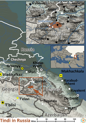 Tindin, Tindi of Russia map