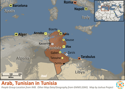 Arab, Tunisian of Tunisia map