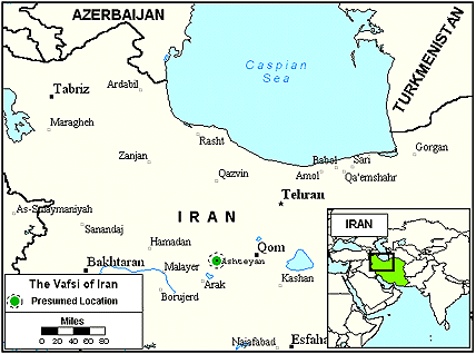 Vafsi of Iran map